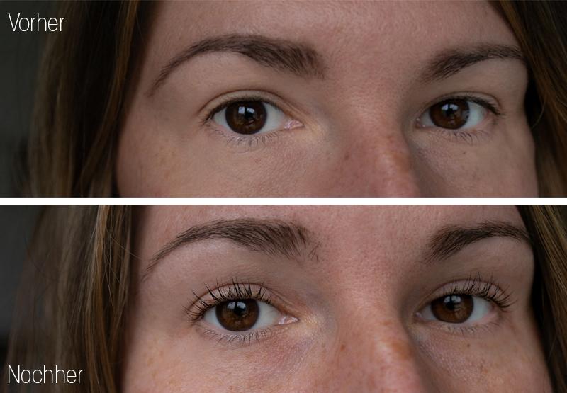 Vorher Nachher Bild von den Wimpern vor und nach dem Wimpernlifting bei SkinSense